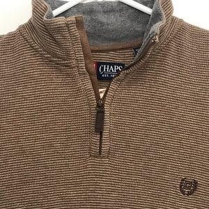 CHAPS Quarter Zip Sweater Brown mens size Large